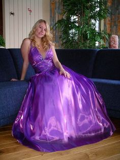 Girls make very beautiful brides including his or her friends wearing there dresses skirts long satin ball & prom gowns one or two piece swimsuits one or two piece snowsuits also very beautiful wedding gowns too. Ball Gown Dresses, Satin Dresses, Sexy Dresses, Prom Dresses, Southern Belle Dress, Purple Gowns, Purple Satin, Silky Dress, Beautiful Wedding Gowns