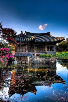 a traditional building which is called 'hanoak' in South Korea. One way to distinguish between Japanese / Chinese / Korean traditional architecture is to note that Koreans tend to use neutral colours such as blue or green Gyeongju, Places Around The World, Travel Around The World, Around The Worlds, Wonderful Places, Beautiful Places, Beautiful Scenery, Amazing Places, Places To Travel