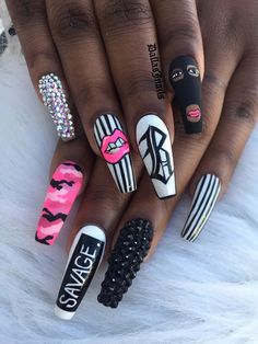 Coffin nails are popular in every season. It is loved by fashionable women because of coffin nails unique shape and every Stylish Nails, Trendy Nails, Cute Nails, Drip Nails, Gel Nails, Coffin Nails, Toenails, Nail Polish, Bling Nails