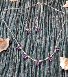 Dawn Mystery - step cut Amethyst and white cfw Pearl necklace with 925 sterling silver twist tubes and findings