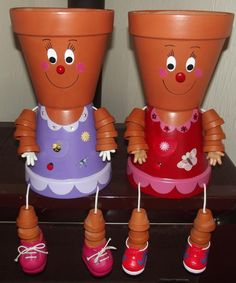another purple and red dress girls Terracotta Flower Pots, Clay Flower Pots, Flower Pot Crafts, Clay Pot Projects, Clay Pot Crafts, Diy Projects, Flower Pot People, Clay Pot People, Decor Crafts