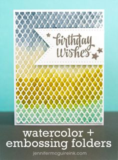 Video: Distress Ink Watercolor + Embossing Folders… and GIVEAWAY | Jennifer McGuire Ink