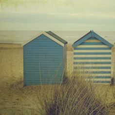 Suffolk coast line scattered with beach huts