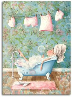 Bubble Bath Fairy illustration by elina ellis Images Google, Art Fantaisiste, Fun Art, Foto Transfer, Whimsical Art, Cute Illustration, Cute Pictures, Artsy, Fairy
