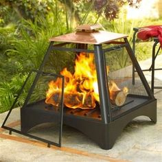 Outdoor Pagoda Pyramid Fire Pit Fireplace with Copper Roof- Free Shipping