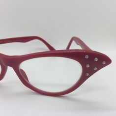 Vintage 90s does 50s Classic Red Cateye Glasses with Rhinestones by Dr. Peepers  #1950s50sfifties #1960s60ssixties #1990s90snineties #drpeepers #kbv #kitschbitchvintage #psychobillypunk #redcateyeglasses #retrorockabilly #Rhinestoneglasses #rockabillypinup #teamkitsch #Vintageglasses