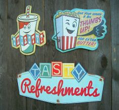 3 Vtg Retro Look Drive In Movie Theater Intermission Metal Concession Snack Sign