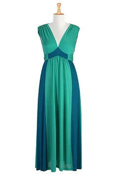 #Oceania knit maxi dress, #Color block, #eShakti, #Maxi, $69.95