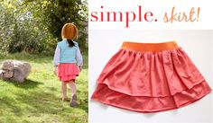 Simple jersey knit skirt with elastic waistband