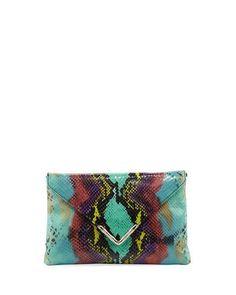 Bella Python-Embossed Envelope Clutch Bag, Green/Multi