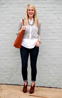 grey shirt. jeans. brown booties.