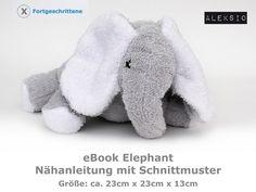 Aleksio eBook Elephant von Aleksio auf DaWanda.com Mini, Dinosaur Stuffed Animal, Stuffed Animals, Illustration, Elephant, Teddy Bear, Etsy, Sewing, Softies