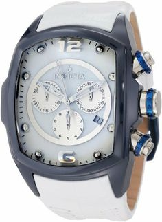 Invicta Men's 10282 Lupah Revolution Chronograph White Mother-Of-Pearl Dial White Leather Watch Invicta. $225.40. White Mother-Of-Pearl dial with silver tone and white hands, silver tone hour markers and arabic numerals at 12:00 and 6:00; luminous; stainless steel crown and pushers with navy blue accents. Swiss quartz movement. Flame-fusion crystal; navy blue ceramic case; white leather strap. Chronograph functions with 60 second, 30 minute and 1/10th of a second silver tone ...