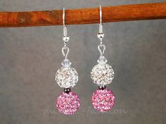 Shamballa Earrings  Crystal Clay Beads  Hand Made  by CRAFTbyEDI, £4.99