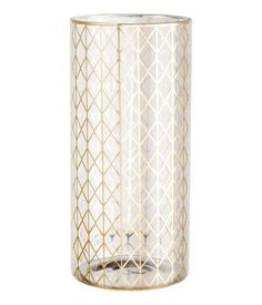 Cylindrical vase in glass with a printed design. Diameter 4 3/4 in., height 10 1/4 in.