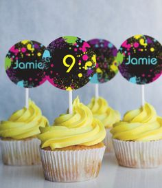 Neon Glow Party Cupcake Toppers by SunshineParties on #Etsy......Fun Fun! #NeonCupcakeToppers #NeonGlowCupcakeToppers