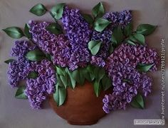 Silk Ribbon Embroidery - Purple Beauties