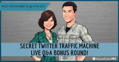 """Twitter Traffic Machine"" Training So Powerful the Audience Demands Hosts Return!.......  Todd & Leah Getts' ""Twitter Traffic Machine"" will pump insane amounts of traffic to your blog, videos, capture pages, or wherever you want traffic.  Register Now : http://www.workwithvivette.com/webinar123 Wednesday @ 9PM EST"
