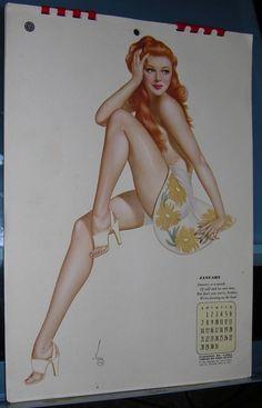 VINTAGE VARGA PIN UP CALENDAR 1945 ESQUIRE COMPLETE PIN UP ART GOOD GIRL ART