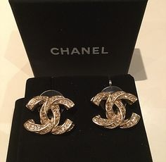 81b29bfdf GORGEOUS #CHANEL Gold Twisted Crystal Stud Earrings 2015 Elegant CC  Hallmark Authentic NEW Chanel Stud