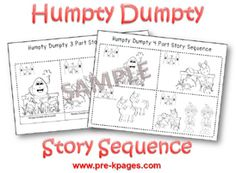 Humpty Dumpty Printable Story Sequence Pictures for Pre-K and Kindergarten via www.pre-kpages.com