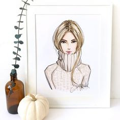 """12.5k Likes, 44 Comments - Holly Nichols (@hnicholsillustration) on Instagram: """"A shop favorite went blonde! """"In For The Season"""" now in blonde at hnIllustration.etsy.com (11x14""""…"""""""