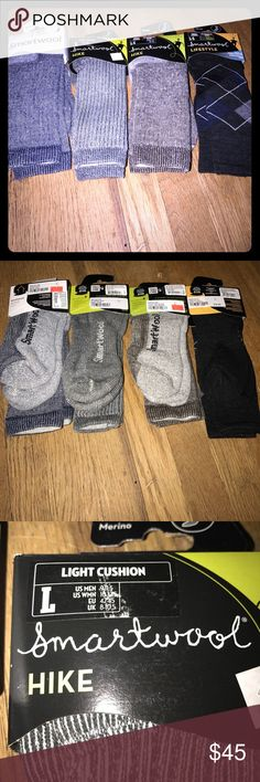 NWT Men's Smartwool Lot💚 Brand new with tags! Lot of 4 men's smartwool socks all size large ( fits size 9 to 11 1/2). Three pairs are hiking socks one pair is a bit dressier! 😉💙 Smartwool Underwear & Socks Athletic Socks