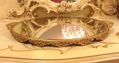 "Vintage Filigree Vanity Dresser Perfume Mirror Tray Bow Motif Ornate Extra Large 23 1/2"" wide  on Etsy, $95.00"