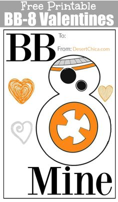 Free Printable BB8 Star Wars Valentines Cards