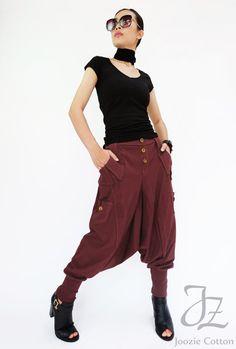 Unisex Pants NO.95 Dark Olive Cotton Jersey Casual Harem Pants Women Unique Pockets Drop-Crotch Pants