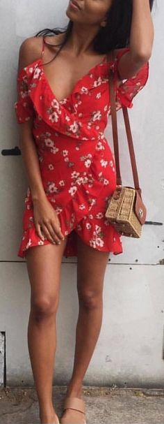 #winter #outfits red and white floral rompers