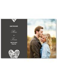 Chic Heart Flower Save The Dates
