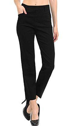 c1dd2d0c7c VIV Collection New Womens Straight Fit Trouser Ankle Pants (Large Black)  Ankle Pants