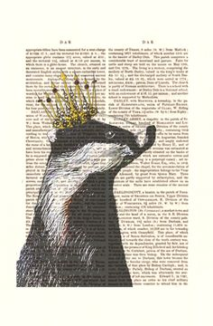 Badger King Acrylic Art Original Painting Print Mixed Media Badger Illustration Crown King Queen Royal wall art wall decor Wall Hanging. $10.00, via Etsy.
