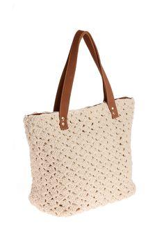 Shopping Bag. Crochet artesanal Barbante ecológico e couro Forro: algodão…