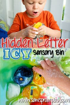 Sensory Play – Hidden Letter Icy Sensory Bin *Link-Up Here*