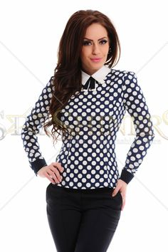 S Shirt, Point Collar, My Outfit, Business Women, Dark Blue, Cotton Fabric, Dots, Elegant, Lady