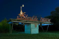 Long abandoned Starlite Drive-In Theatre in Schertz, Texas, Thankfully Tyler, just reopened it's one drive in theater, showing first run movies and it's just as special it used to be.