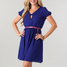 Keyhole Belted Dress