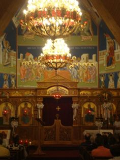 St. Nicholas Greek Orthodox Church - The entire nave is painted with Christ and the Saints.