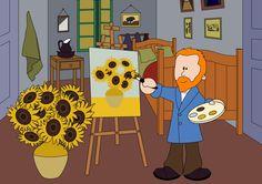 Vincent van Gogh met De Zonnebloem. Vincent Van Gogh, Academic Art, Elementary Art, Picasso, Museum, Kitty, Projects, Fictional Characters, School