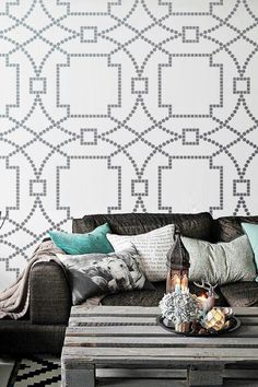 Wall Stencil Geo Trellis Pattern Wall Room Decor Made by OMG Stencils Home Improvements Color Paintings 0107 on Etsy, $37.00