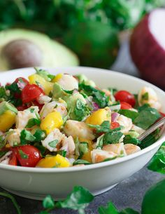 Shrimp avocado mango lime salad. This healthy salad is bursting with summer flavor!