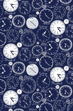 World Clocks wallpaper design by Nancy Wolff | Loboloup