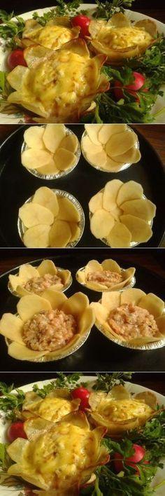 Необходимо: 500г картофеля 1 яйцо для смазки Начинка:любое отварное мясо,мелко порубить,добавить тертое яйцо,тертый сыр,сладкую горчицу,немного сметаны,паприку и специи на свой вкус 1.Картофель порезать на пластинки 2.Выложить в форму для кексов, проколоть вилкой 3.Выложить начинку (причем начинка может быть любая на ваш вкус) 4.Края картофеля каждой закуски смазать яйцом и сверху положить горку тертого сыра 5.Выпекать … Good Food, Yummy Food, Cooking Recipes, Healthy Recipes, Creative Food, Food Design, Vegetable Recipes, Appetizer Recipes, Food Porn
