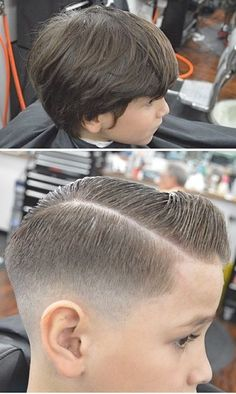 before and after ~ fade ~ taper ~ undercut. That top picture looks like JP! Boys Fade Haircut, Taper Fade Haircut, Tapered Haircut, Hairstyles Haircuts, Haircuts For Men, Little Boy Haircuts, Barbers Cut, Kids Cuts, Trending Haircuts