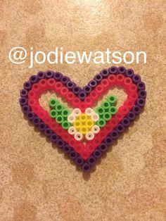 Love heart / heart, hama bead / perler bead design made by myself