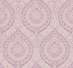 Rosalia Damask - Osborne & Little Wallpapers - A mid scale damask with all over tracery - shown in the pale grape pink. Please request sample for true colour match. Pink And Purple Wallpaper, Damask Wallpaper, Red And Pink, Pink Purple, Osborne And Little Wallpaper, True Colors, Colours, Moroccan Room, Blue Wallpapers
