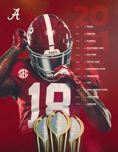 Roll Tide Football, Sec Football, Crimson Tide Football, Alabama Crimson Tide, College Football, Football Stuff, Alabama Football Schedule, Alabama Athletics, Team Schedule