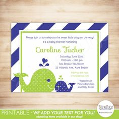 Printable Navy Blue and Green Preppy Stripes Whale Baby Shower Invitation